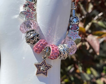 Pink Star Crystal Bead European Pandora-style Charm Bracelet on Snake Chain with Adjustable Lobster Clasp, Changeable Bead DYI Bracelet