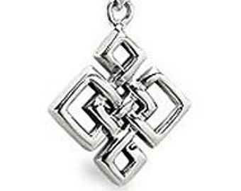 Celtic Everlasting Knot Sterling Silver Pendant Necklace for Men and Women