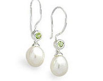 Freshwater Pearl and Peridot Gemstone Sterling Silver Earrings, Womens Dangle Handcrafted Earwire Earrings Women, Wedding, Birthstone June