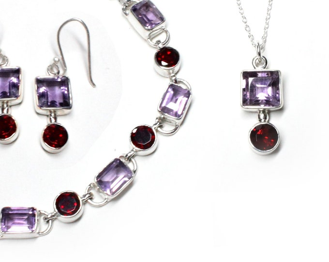 Amethyst and Garnet Bracelet, Necklace, Earrings Jewelry Set Sterling Silver Handcrafted Custom Design January February Birthstone Jewelry