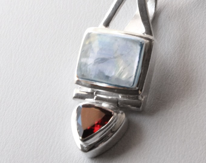"Moonstone and Garnet Gemstone Pendant Sterling Silver Necklace Birthstone Jewelry on 16"" or 18"" SP Snake Necklace Chain"