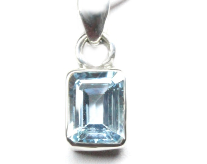 Sky Blue Topaz Emerald Cut 3.25 Carat Sterling Silver Pendant with Complimentary SP Necklace Chain - Blue Topaz is December's Birthstone
