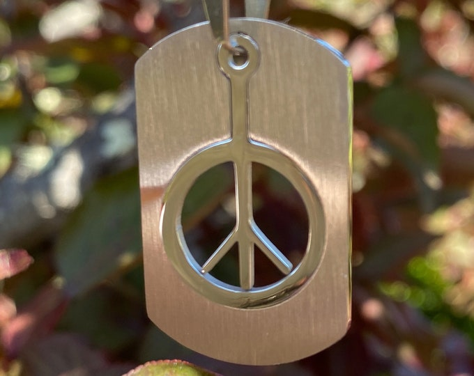 "Peace Sign Two Piece Dog Tag Pendant Necklace in Stainless Steel  with Choice of Chain: 24"" Military Ball Chain or 16"" 18"" 20"" or 22"" Chain"