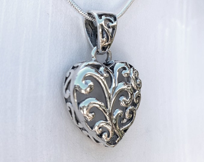Sterling Silver Heart Pendant, Unique Ornate Swirl Raised Design - Comes with A Complimentary SP Chain in 16, 18 or 20 inch length