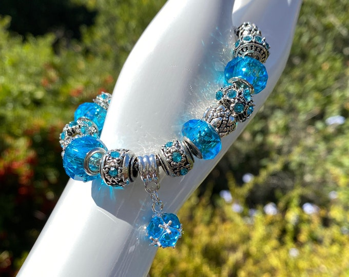 Blue Bead Crystal Charm European Charm Bracelet on Snake Chain with Adjustable Lobster Clasp - Changeable Bead Large Hole DYI Bracelet