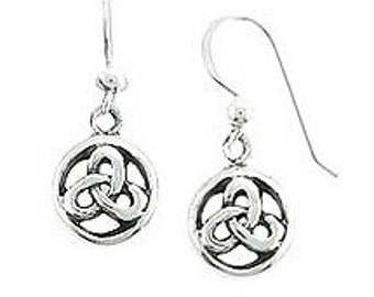 Celtic Earrings, Sterling Silver Petite Celtic Round Everlasting Knot Design Dangle Earwire Earrings