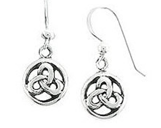 Celtic Earrings, Sterling Silver Petite Celtic Round Everlasting Knot Design Dangle Earwire Earrings