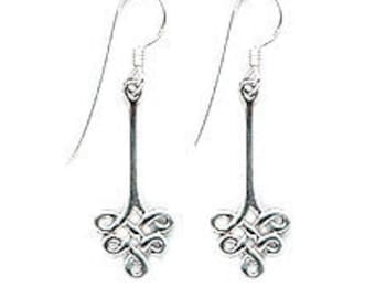 Everlasting Knot  Celtic Swirl Sterling Silver Earrings