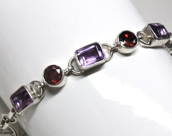 Amethyst and Garnet Gemstone Sterling Silver Bracelet