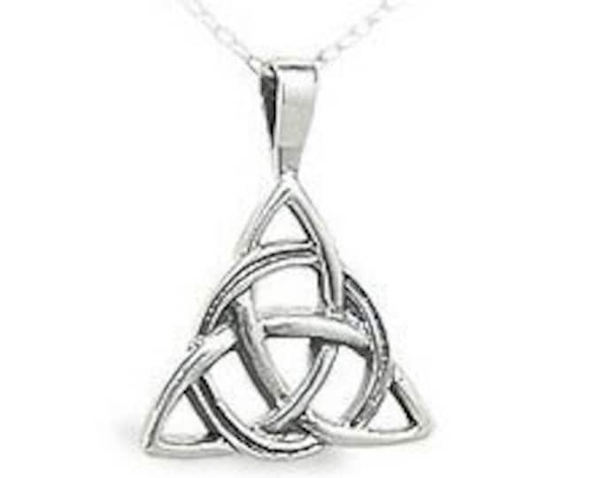 925 Sterling Silver Heavyweight Celtic Triangle Triqueta Pendant for Men and Women Gift Box Plus Free Shipping