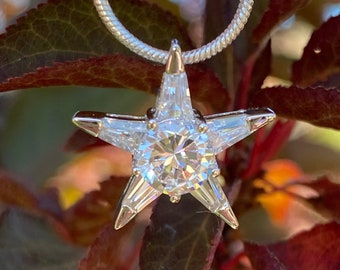 Wish On A Star Brilliant Sparkle CZ Pendant in Sterling Silver, Cubic Zirconia Pendant Womens Necklace Bride, Bridal, Wedding, Holiday