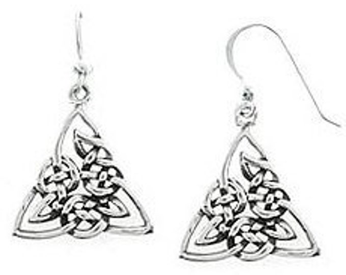 Celtic Triangle Sterling Silver Earrings in Ornate Triqueta Design Beautiful Endless Knot Dangle Earrings for Women, Teen, Girls