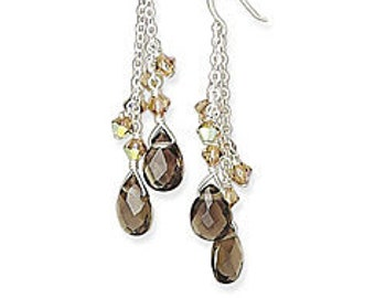 Smoky Topaz Pear Cut Gemstone Earrings 925 Sterling Silver Dangle Drop Earrings on Earwires with Amber Crystal Bead Accents