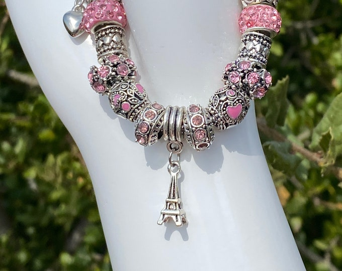 Eiffel Tower and Pink Bead Crystal European Charm Pandora-style Bracelet on Snake Chain with Adjustable Clasp - Changeable Bead DYI Bracelet