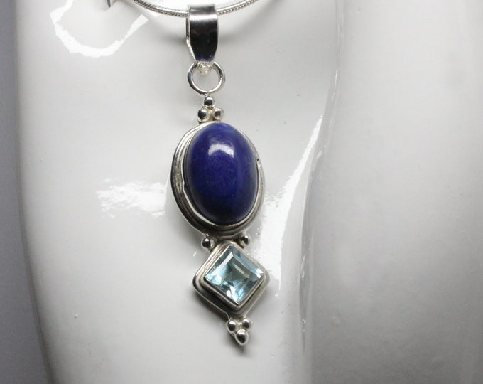 Lapis Lazuli and Sky Blue Topaz Sterling Silver Pendant Necklace