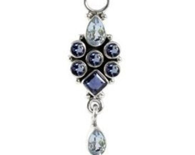 Iolite and Sky Blue Topaz Sterling Silver Pendant Necklace