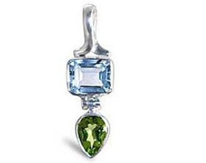 Sky Blue Topaz and Peridot Gemstone Sterling Silver Pendant Necklace