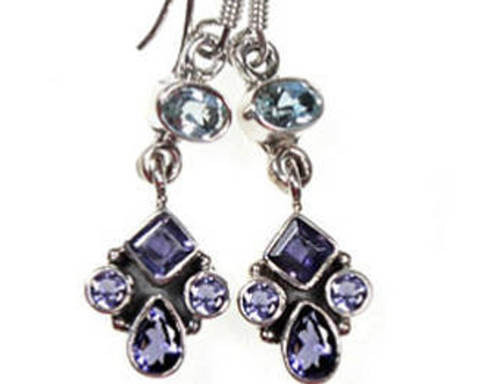 Iolite and Blue Topaz Sterling Silver Dangle Allure Earrings - Beautiful Gemstone Dangle Earrings for Women, Handcrafted 925 Sterling Silver