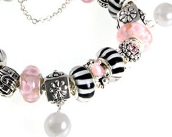 Candy Stripe Lampwork Bead Charm Bracelet Handcrafted Pink Flower, Black & White Glass Beads, Silver Plated Crystal Charms, Choose Clasp