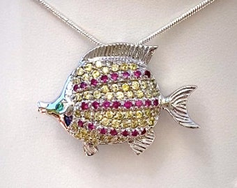 Darling Tropical Fish Cubic Zirconia Sterling Silver Pendant AND Brooch Pin Brilliant Quality CZ Stones Beach Necklace Womens Gift