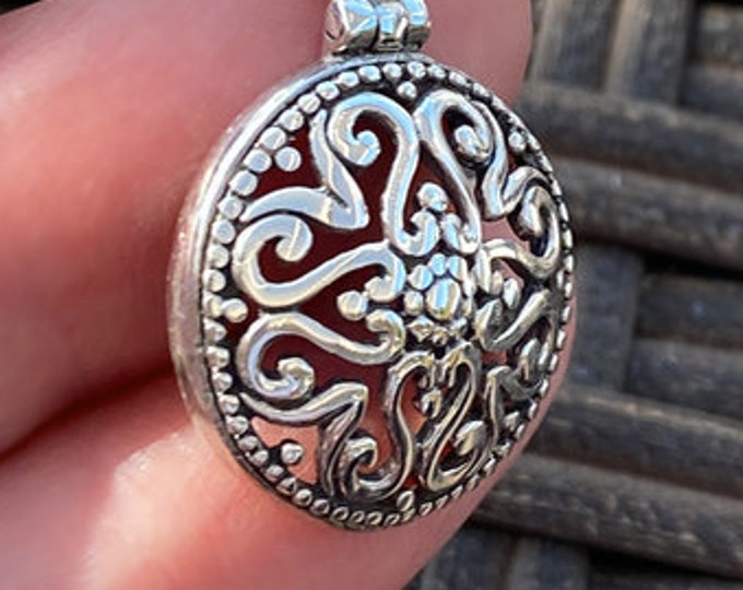 "Unique Ornate Domed Sterling Silver Pendant on Your Choice of Complimentary Snake Chain in 16"", 18"", 20"", 22"" Length"