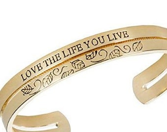 Love The Life You Live - Inspirational Message Goldtone Bangle Cuff Bracelet