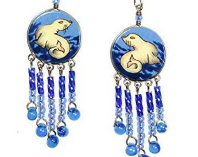 Ocean Seal Hand Painted Earwire Earrings with Blue Bead Dangles - Animal, Beach, Hawaii, Resort Jewelry, Sterling Silver Earwires, Unique