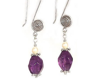 Amethyst and Freshwater Pearl Sterling Silver Earwire Dangle Earrings - Exclusively from Beautiful Silver Jewelry