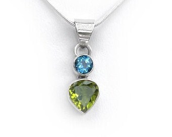 Peridot and Blue Topaz Gemstone Pendant in Sterling Silver August and December Birthstone Gemstone Necklace Includes SP Chain