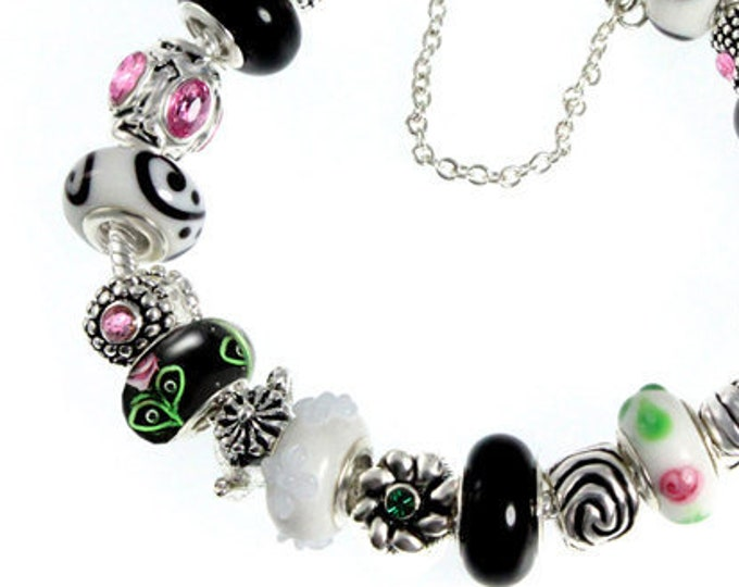 Pink Black and White Lampwork Bead Charm Bracelet Handcrafted Flower Glass and Swirl Beads, Silver Plated Crystal Charms, Choose Clasp