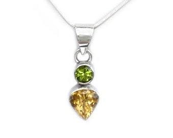 Citrine and Peridot Gemstone Pendant in Sterling Silver November and August Birthstone Gemstone Necklace Includes SP Chain