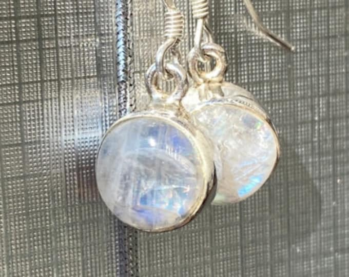 10mm Moonstone Sterling Silver Dangle Drop Earrings with Large Round Iridescent Rainbow Moonstone Gemstones