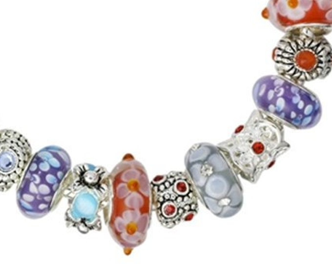 Fab Flower Lampwork Bead Charm Bracelet in Purple Red Orange and Blue Handcrafted Glass Beads and Silver Plated Charms, Choose Clasp Type