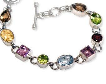 Sky Blue Topaz, Citrine, Peridot, Amethyst, Smoky Topaz, Garnet 18 CT TW Genuine Gemstone Bracelet Sterling Silver Handcrafted Bracelet
