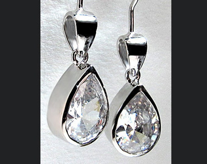 Sterling Silver 7 Carat tw Cubic Zirconia CZ Pear Cut Earwire Earrings Gift Box Plus Free Shipping