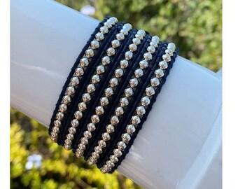 Dark Blue Leather 5x Wrap Bracelet with Round Silver Beads 5x Wrap Bracelet in Extra Long Length Fits Wrists Including Plus Size