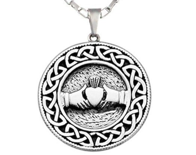 "Celtic Pendant Necklace Heart and Hand Stainless Steel for Men, Women on 16"", 18"" or 20"" Chain - Claddagh design: love, loyalty,friendship"