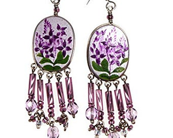 Lilacs Hand Painted Earwire Earrings with Purple Lilac Glass Bead Dangles - Sterling Silver Earwires, Unique One Of A Kind Jewelry