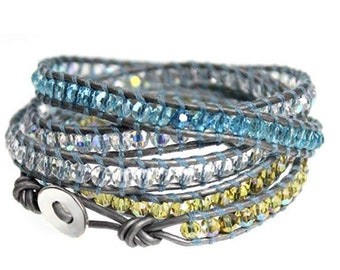 Teal Blue, Yellow, White Faceted Crystal Bead 5x Wrap Bracelet on Butter-soft Silver Leather, Extra Long Length Wraps Fits Up to Plus Size