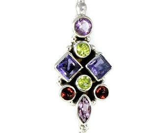 Iolite, Garnet, Peridot, Amethyst Gemstone Pendant Necklace Sterling Silver, Designed By and Exclusively From Beautiful Silver Jewelry