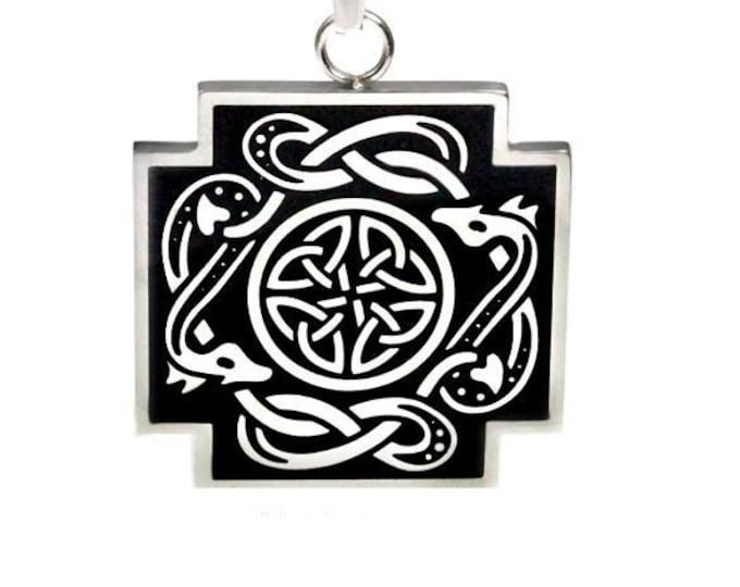 Celtic Snake Everlasting Knot Stainless Steel Pendant Necklace for Men, Women, Unisex, Boys, Girls