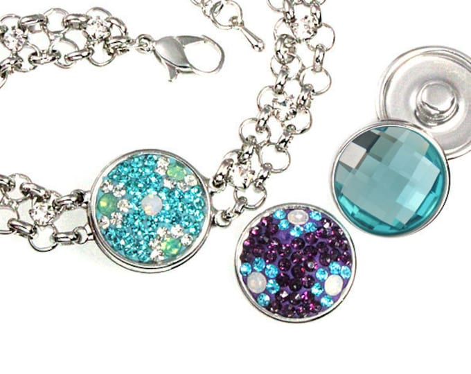 Snap Charm Chain Bracelet with Three 18-20 mm Snap Button Charms Included - chunk buttons - SNAP jewelry snap chunk interchangeable noosa