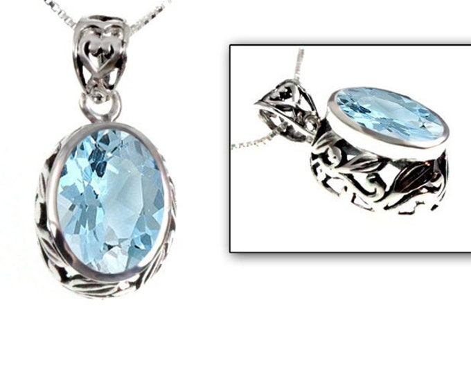 Oval 6 ct. Blue Topaz Pendant Sterling Silver Bezel Set Leaf Design with Necklace Chain, December's Birthstone & 4th Yr Anniversary Gemstone