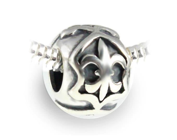 Sterling Silver Fleur De Lis Bracelet Charm - European Style Slide On Large Hole Bead Charm for Bracelet or Necklace