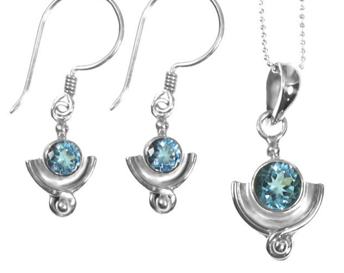 Sky Blue Topaz Gemstone Sterling Silver Earring & Necklace or Set, Birthstone Jewelry, Handmade 925 Sterling Silver Exclusive Design by BSJ