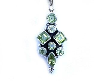 August Peridot Gemstone Pendant Necklace 925 Sterling Silver - Square, Round, Marquise Gemstones, Exclusively from BSJ - August Birthstone