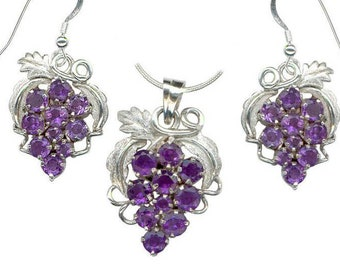 Amethyst Grape Cluster Sterling Silver Earrings and Pendant Necklace