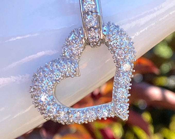 Sterling Silver Heart Pendant Necklace with Brilliant, Quality Cubic Zirconia