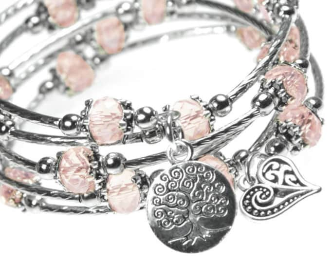 Tree of Life and Ornate Heart Charm Pink Crystal Bead 5x Wrap Bangle Bracelet - Free Shipping (from California)