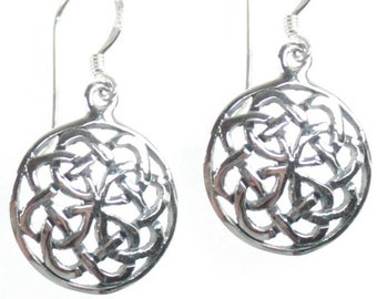 Celtic Design Round Endless Knot Sterling Silver Dangle Earrings Gift Box
